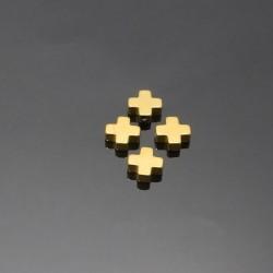 Hematit-kríž zlatý 8x8mm