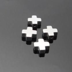 Hematit-križ strieborný 10mm