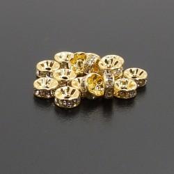 Štrasové rondelky 8mm zlaté...