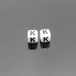 Biele kocky 6x6mm písmeno K