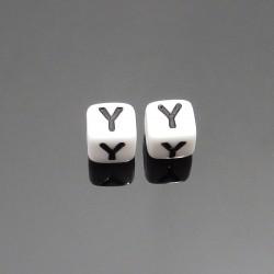 Biele kocky 6x6mm písmeno Y