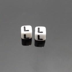 Biele kocky 6x6mm písmeno L