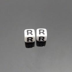Biele kocky 6x6mm písmeno R
