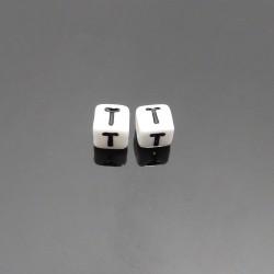 Biele kocky 6x6mm písmeno T