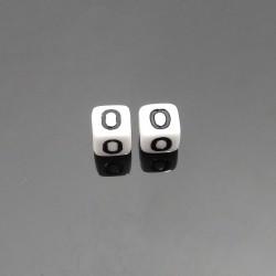 Biele kocky 6x6mm písmeno O