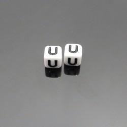 Biele kocky 6x6mm písmeno U