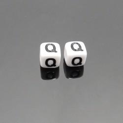 Biele kocky 6x6mm písmeno Q