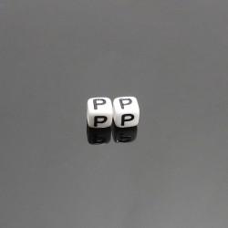 Biele kocky 6x6mm písmeno P