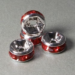 Štrasové rondelky červené 6mm